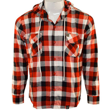 Peter Says Denim - Plaid Red Long Sleeve Button-Up T-Shirt