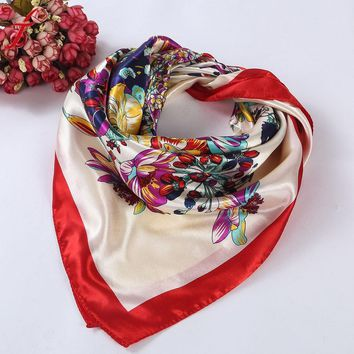 High Quality Floral Printed Women Lady Square Scarf Head Wrap Kerchief Neck Satin Shawl  Scarf Women Winter#LSN