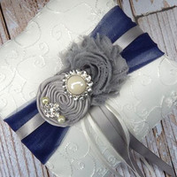 Ring Bearer Pillow / Grey Navy Blue Ring Bearer Pillow / YOU DESIGN / Navy blue Grey Ring Bearer Pillow / Navy Ivory Ring bearer Pillow