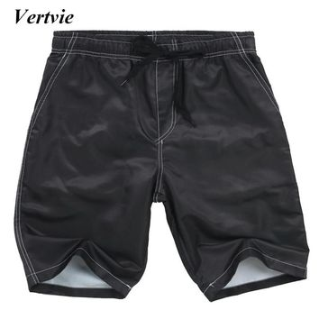 Vertvie Surfing Men's Solid Color Sports Shorts Cool Knee Length Swimming Short Pants Quick Dry Quality Sports Swimming Trousers