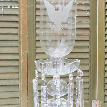 Vintage Crystal Hurricane Lamp / Prism Crystals - Etched Eagle Hurricane
