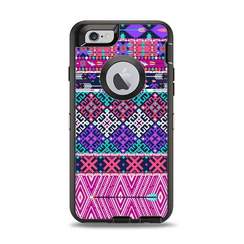 The Pink & Teal Modern Colored Aztec Pattern Apple iPhone 6 Otterbox Defender Case Skin Set