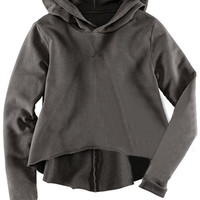 ROMWE | Hooded Asymmetric Dark-grey Hoody, The Latest Street Fashion