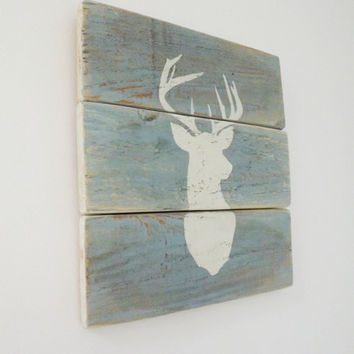 Stag's Head Silhouette Wooden Sign