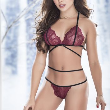 Burgundy Lace G-String Set