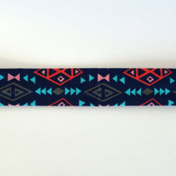 Navy blue multi-color triangle pattern cotton fabric headband, no slip adult women's elastic yoga headband, sports workout headband