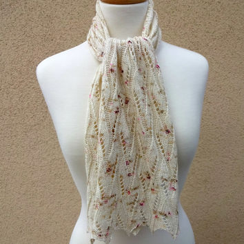 Knit Scarf, Lace Scarf, Openwork Scarf, Wrap Cowl, Silk Wool Scarf, Cream White Scarf, Speckled Pink Brown White Cowl, Diamond Feather Lace