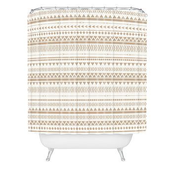 Allyson Johnson Tan Aztec Shower Curtain