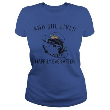 Fishing and she lived happily ever after shirt Premium Fitted Ladies Tee