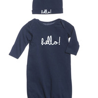 Harper  ~Hello Baby Receiving Gown and Hat ~ Navy