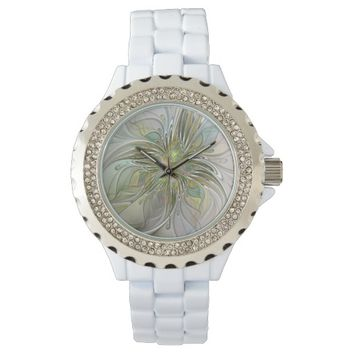 Floral Fantasy, Abstract Fractal Art Watches