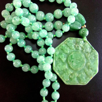 Carved Green Jade Beaded Pendant Medallion Necklace, Hand Knotted, Vintage
