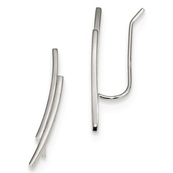 2 x 22mm Rhodium-Plated Sterling Silver Double Bar Ear Climbers