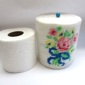 Floral Flowered Tissue Roll Cover White Pink Yellow Plastic Canvas Embroidered