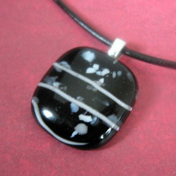 Fused Glass Necklace Black and White Hard as a Rock by mysassyglass