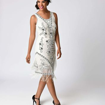 1930s Ivory Beaded Embroidered Mesh Deco Flapper Dress