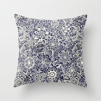 Lace on Nautical Navy Blue Throw Pillow by Tangerine-Tane