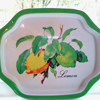 Vintage Lemons Tray with Green Rim,Vintage Bird and Floral Motif Tray with Red Rim, Metal Tray, Decorative Tray, Serving Tray, Small Tray