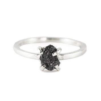 Uncut Black Diamond Ring Rough 14k White Gold Delicate Rings