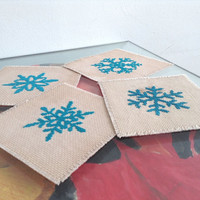 Set of 4 Fabric drink coaster Cross stitch coasters Snow flake coaster Completed cross stitch Dyed by real tea