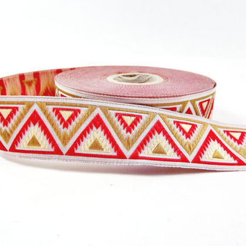 Red Golden Mustard & Lemon Chevron Triangle Woven Embroidered Jacquard Trim Ribbon - 1 Meter  or 3.3 Feet or 1.09 Yards