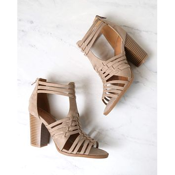 nothing breaks like a heart cutout woven ankle strap suede peep toe booties in taupe