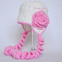 Newborn Hat for Girls, White Crochet Infant Hat, Newborn Hat for Girls, Baby Earflap Hat, White and Pink, 0 - 6 months size