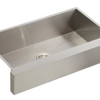 KOHLER K-3943-NA Vault Undercounter Single Basin Stainless Steel Sink with Shortened Apron-Front for 36-Inch Cabinet