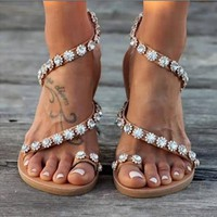 Women's handmade beaded toe flat sandals