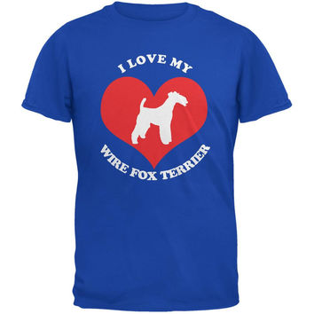 Valentines I Love My Wire Fox Terrier Royal Adult T-Shirt
