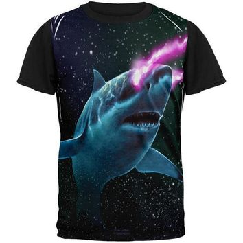 CREYCY8 Galaxy Great White Shark Laser Beams All Over Mens Black Back T Shirt