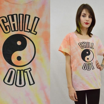 Yin Yang Tie Dye Chill Out Crop Shirt MED Grunge Hipster Womens Clothing soft Grunge Pale Pastel Pink Handmade Tie Dye Cut out neck