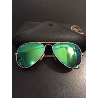 Cheap Ray Ban Aviator Sunglasses Green Mirrored Lens Gold Frame, 100% UV outlet