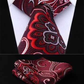 "TP936U8S Burgundy Black Paisley 3.4"" Silk Woven Men Tie Necktie Handkerchief Set Party Wedding Classic Pocket Square Tie"