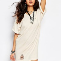 Milk It Vintage Longline Distressed T-Shirt Dress