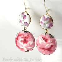 Dangle Earrings Roses and Berries, Pink Flowers, Purple Beige Green, Romantic Fabric Buttons Earrings, Shabby Elegance, Cottage Chic Jewelry