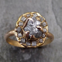 Raw Diamond Halo Engagement Ring Rough 18k rose Gold Wedding Ring diamond Wedding Set Stacking Ring Rough Diamond Ring