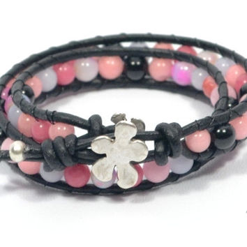 pink beaded bracelet * beaded leather bracelet * black leather bracelet * gifts for best friend * teens bracelet * flower hook