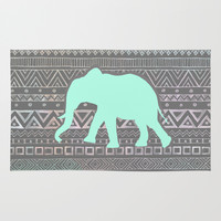 Mint Elephant Rug by Sunkissed Laughter