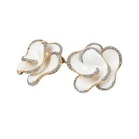 MLOVES Women's Classical Delicate White Flower Inlaid Pearl Ear Cuffs