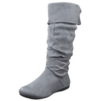 Womens Mid Calf Boots Knitted Cuff Leather Side Vintage Buckle Gray SZ