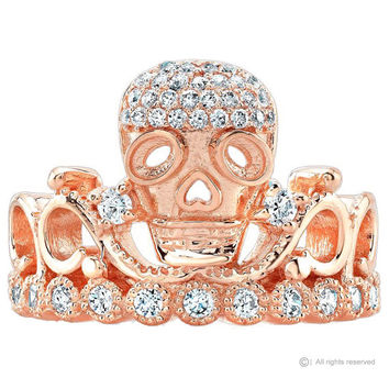 Guliette Verona 14K Rose Gold Skull Crown Ring - AZSKR5456-14KRG