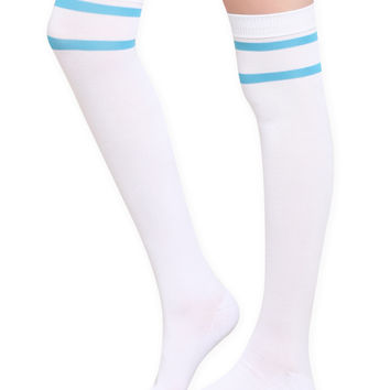 LOVEsick White Turquoise Stripe Over-The-Knee Socks | Hot Topic