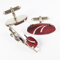Vintage Cufflink and Tie Clip Set in Silver Tone and Red, Swank, Made in the USA / Vintage Wedding Cufflink Set.