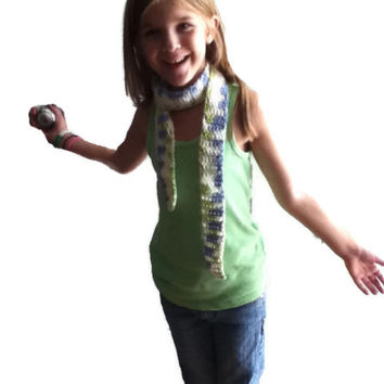 Blue , Green and White Skinny Scarf - Perfect for kids , even toddlers