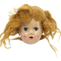 Vintage Doll Horsman Composition Head, Sleepy Eyes, Doll Parts, Creepy Decor