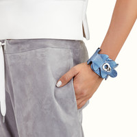 FENDI | FASHION SHOW BANGLE in light blue crocodile leather