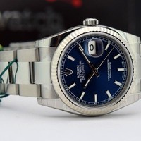 Rolex Datejust White Gold & Steel Blue Dial 116234 Oyster Never Worn WATCH CHEST