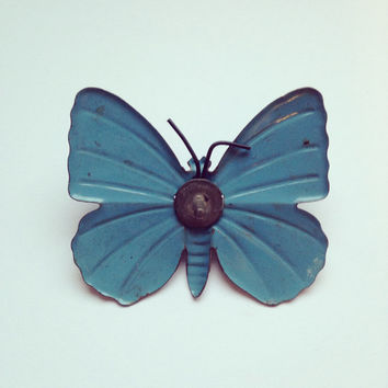 Small vintage diecast metal blue butterfly adornment / finial / embellishment - collectable, shadow box display, altered arts, salvage