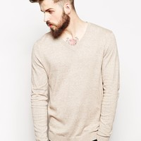 ASOS V-Neck Sweater in Cotton - Mink